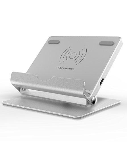 Wireless Charging Stand, Fansteck Aluminum Portable Fast Wireless Charger with Rotatable Charging Pad / Multiple Viewing Angle, for iPhone X / 8 / 8 Plus, Samsung Note 8 and Other QI Enabled Phones