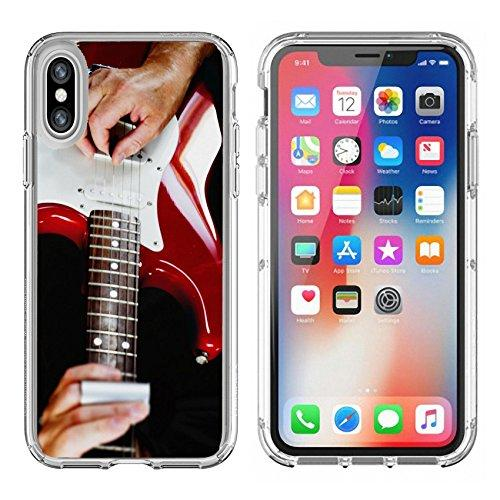 Luxlady Apple iPhone X Clear case Soft TPU Rubber Silicone Bumper Snap Cases iPhoneX IMAGE ID 31511081 Guitarist playing vintage fender stratocaster guitar
