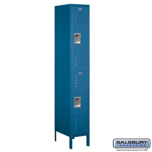 Salsbury Industries Assembled 2-Tier Standard Metal Locker with One Wide Storage Unit, 6-Feet High by 18-Inch Deep, Blue