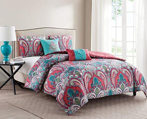 VCNY Home Full/Queen Size Comforter Set in Multicolor Bohemian Style Paisley 5 Pc Set w/Decorative Pillows