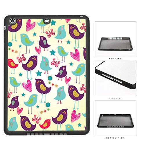 Purple And Mint Color Birds Wallpaper With Pink Hearts And Stars iPad AIR TPU RUBBER Silicone Case on Case