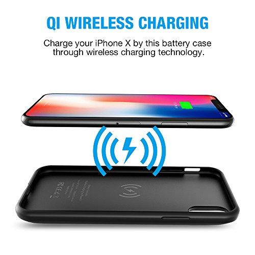 official photos a47e2 cc526 iPhone X Battery Case with Qi Wireless Charging,Support Lightning Headphone  and Data Syncing,ALCLAP 3000mAh iPhone X wireless charging battery cover ...