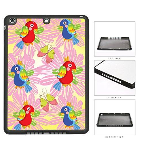 Red And Blue Color Parrots Birds Wallpaper With Pink Color Flowers And Butterflies iPad AIR TPU RUBBER Silicone Case on Case