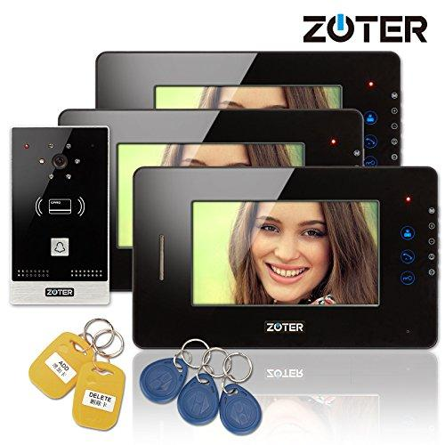 "ZOTER Wired 7"" inch LCD Touch Key Color Video Door Phone Intercom Doorbell 1 Camera 3 Monitor RFID Access Control Security Entry System"