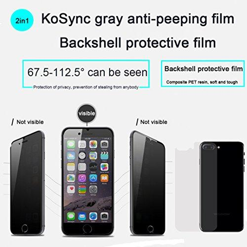 【Back film for free】iPhone 7 plus/8 Plus Prevent peeping tempered glass film,Privacy protection,Vacuum plating anti-fingerprint oil,Smooth surface,9H Hardness,Ultra-thin 0.3mm,0.1mmHD PET back film