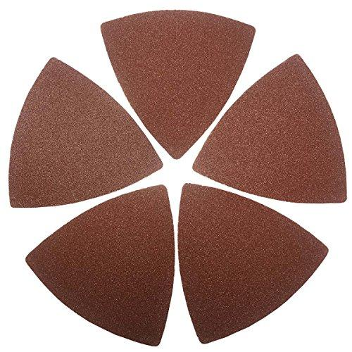 XXGO 60 Pcs 120 Grits Triangular 3-1/8 Inch Hook & Loop Oscillating Tool Sandpaper for Wood Sanding Fit 3-1/8 Inch Triangle Oscillating Multi Tool Sanding Pad