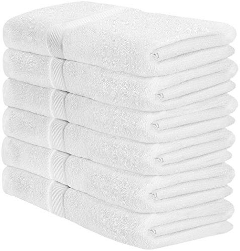 Utopia Towels Cotton White Bath Towels Set (6 Pack, 22 x 44 Inch) Lightweight High Absorbency Multipurpose Quick Drying Pool Gym Towels by