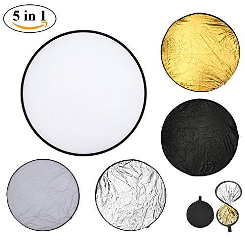 Light Reflector Camera Reflector 43inch 110cm 5-in-1 Portable Collapsible Multi-Disc for Photography Studio Outdoor Lighting with Bag - Translucent, Silver, Gold, White and Black …