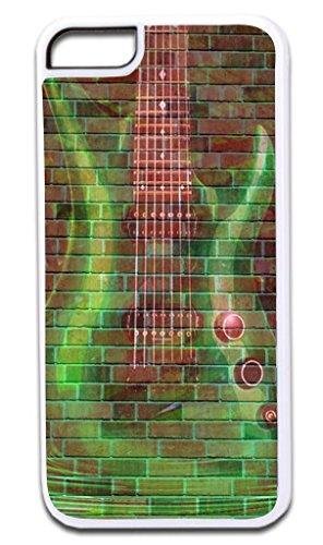 Green Guitar Wall Art- © Hard White Plastic Case for the Apple iPhone 6, 6s Universal (Not Compatible with the iPhone 6+ or 6s+) Made in the U.S.A.