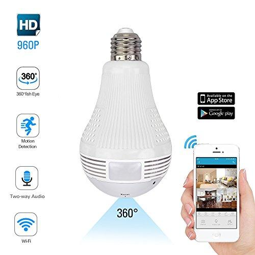 WiFi Bulb Light 360 degrees Panoramic Camera - Wireless Security Light Bulb Camera- HD 960P Indoor Home Surveillance System With Remote View Motion Detection - Two Way Audio - Pet Monitor Alarm Push