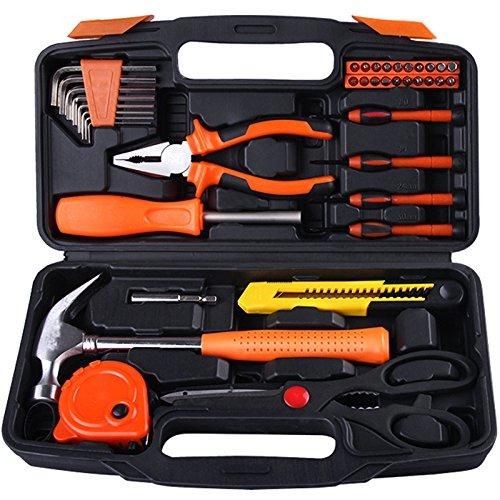 Yuanshikj Precision Tools General Tool Set Homeowner's Tool Kit Toolbox, 39 Piece ORANGE Color General Household Hand Tools Kit with Plastic Toolbox Storage Case