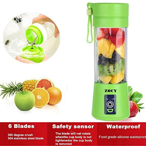 ZOCYE [New Version] Personal Blender USB Juicer Cup Portable Juicer Blender 6 Blades Rechargeable Fruit Mixing Machine For Baby Travel 380ml(Green)