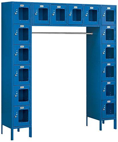 Salsbury Industries S-66016BL-U Six Tier Box Style Bridge 16 Box 18-Inch Deep Unassembled See Through Metal Locker, Blue