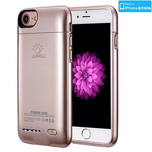 "[Upgrade] iPhone 8/7/6S/6 Battery Case, SUNWELL 3000mAh High Capacity Ultra Slim External Charger Case for iPhone 8/7/6/6S with Extra 110% Battery Life (4.7"" Rose Gold)"