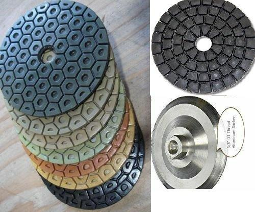 "5"" Diamond Resin Polishing Pad 11 Pieces + Waxing Buffer Free Aluminum Backer Granite Marble Concrete stone countertop floor tile glass travertine quartz terrazzo smoothing grinding works with grinder"