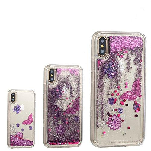 DANHUA iPhone X Case speck Quicksand Adorable Flowing Floating Moving Shine Glitter Cartoon clear case for Apple iPhone x Case Otterbox-Red Butterfly