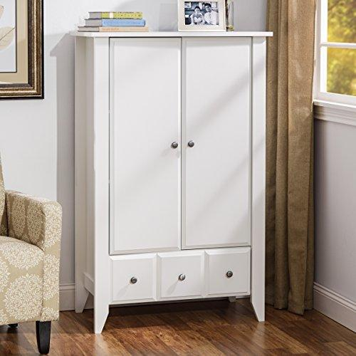 Wardrobe Closet Armoire - Modern Contemporary Dresser Cabinet With Drawers For Clothes Storage Clothing Bedroom Furniture (Soft White)
