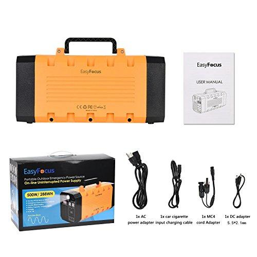 EasyFocus 500W 288WH Backup Portable Generator Solar Power Source 500W Pure  Sine Wave Power Inverter UPS 26AH Li-on Battery CPAP Pack Home Camping