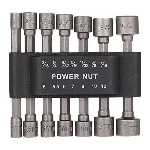 "Zzanggu Power Nut Driver Drill Bit Set(14Pcs) 1/4"" Hex Shank Metric Socket Wrench Screw Kits with Strong Inner Hexagon Sleeve"