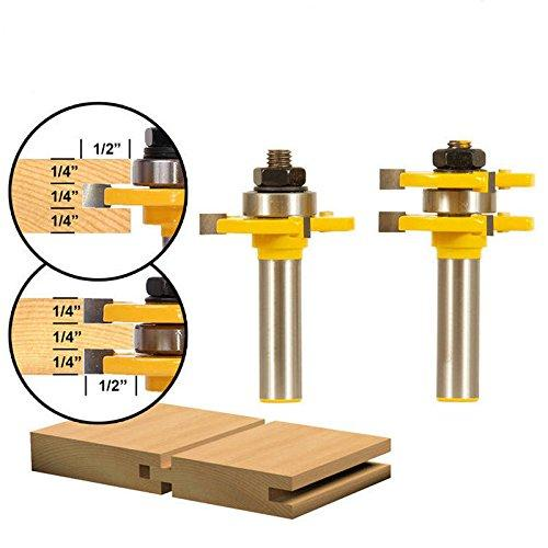 Tongue and Groove Set, Router Bit Set, Wood Door Flooring 3 Teeth Adjustable, 1/2 Inch Shank T Shape Wood Milling Cutter Woodworking Tool, 2 Piece
