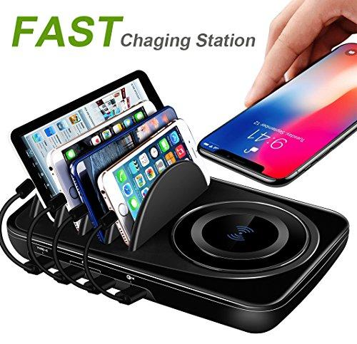 USB Charging Station Dock Quick Charge 3.0 Type-C for Multiple Devices iPad Desktop Charging Stand Organizer Hub-Fast Wireless Charger for iPhone X/8 Plus Samsung Galaxy S9/S9/Note 8/S8/S8 Plus Black