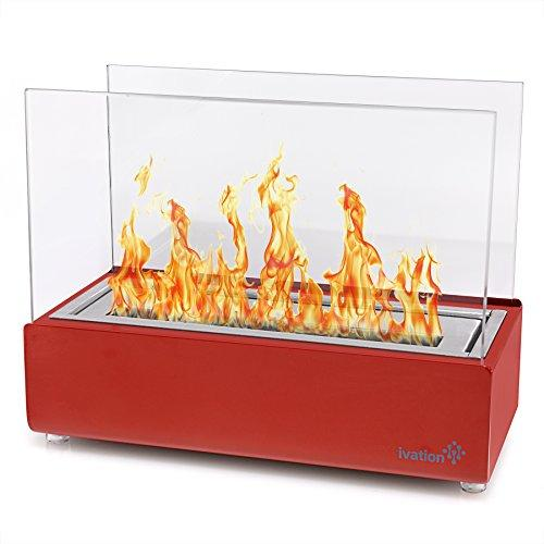 Ivation Vent less Compact Tabletop Fireplace – Red Stainless Steel Portable Bio Ethanol Fire Place for Indoor & Outdoor Use – Includes Decorative Fireplace, Fuel Canister & Flame Snuffer