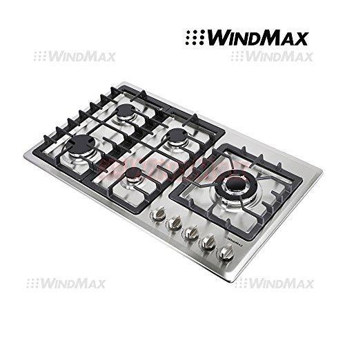 "WindMax® 34"" Stainless Steel Circular Frame 5 Burners Stove NG/LPG Gas Cooktops Cooker"
