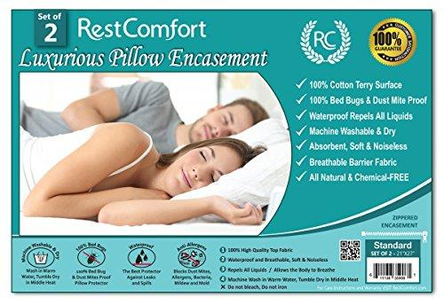 "Set of 2 Cotton Terry Pillow Protectors, Bed Bug & Dust Mite Bacteria, Allergy Proof / Waterproof Hypoallergenic Breathable & Quite - Zippered Pillow Encasement, RestComfort (Standard 21""x27"", White)"
