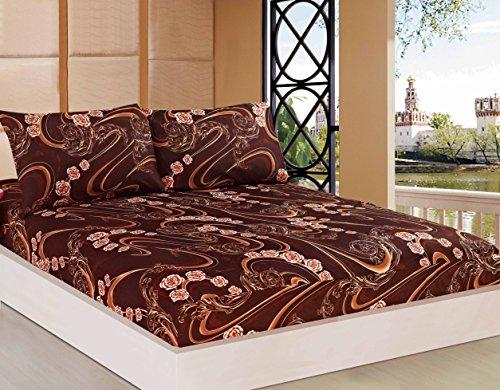 Tache Chocolate Brown Fitted Bed Sheet - Melted Gold Brown - 3 Piece Super Soft Rose Floral Swirls Deep Pocket Bedsheet Set Only - King
