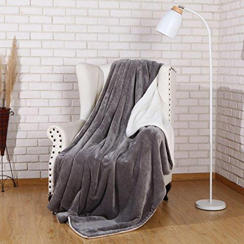 Sherpa Throw Blanket Luxury Grey Size 50x60 Inches Reversible All Season Super Soft Warm Fleece Thick Fuzzy Microplush Blanket for Bed Couch and Christmas Gift Blankets by Snuz