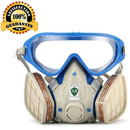 Respirator Gas Mask with Safety Goggles for full face, Safety Mask Reusable Cover Paint Chemical Project Mask with Safety Glasses, Face Respirator Mask Pesticide Dust proof Breathing Apparatus.