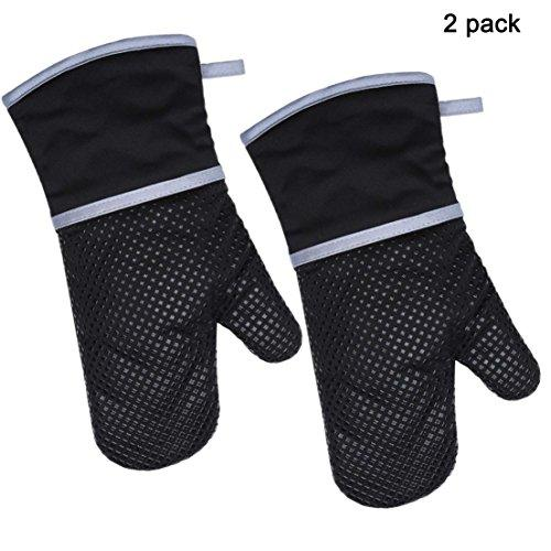 Oven Mitts - 500°F Extreme Heat Resistant Safety Gloves| Cotton and Silicone Material| Thick but Light Weight for Oven Cooking, Baking, BBQ, Use as Oven Mitts Potholder, Black,2 Pack