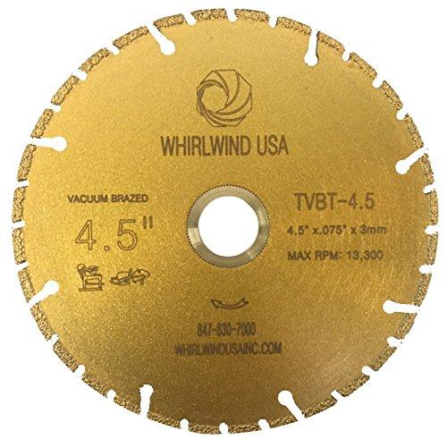 "Whirlwind USA TVBT 4.5 in. All Purpose Metal Cutting Dry or Wet Cutting Vacuum-Brazed Segmented Diamond Blades for Metal and Plastic Materials (Factory Direct Sale) (4.5"")"