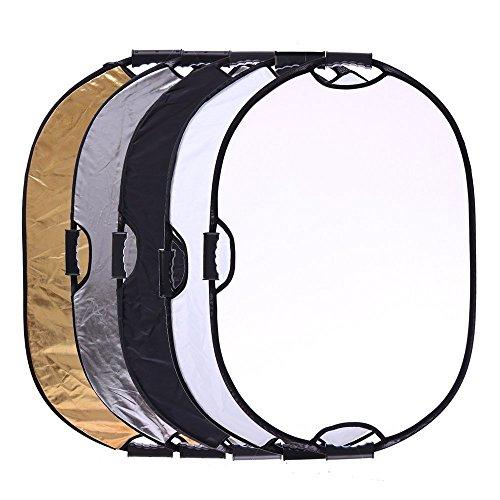 "Portable 5-in-1 36""x47""/90x120cm Multi-Disc Oval Light Reflector with 3 Handle for Photography Photo Studio Lighting & Outdoor Lighting -Translucent, Silver, Gold, White and Black"