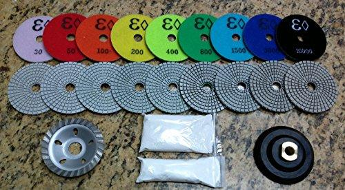 "4"" Wet/Dry Diamond Polishing Pad Complete Set (9+Backer+Cup+a Pint of Densifier/Sealer) for Granite, Concrete, Stone Polishing"