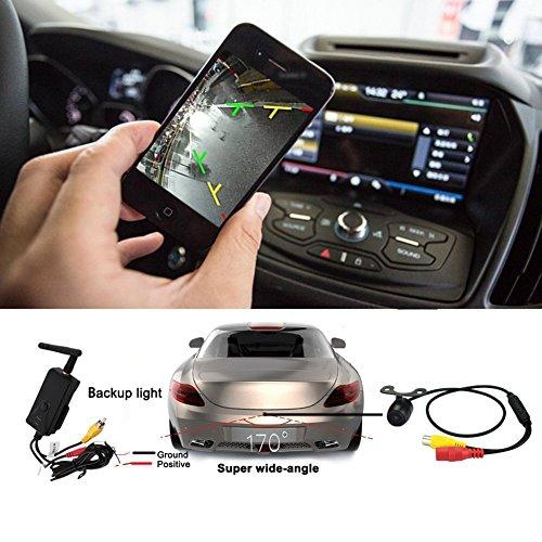 CarBoss Car Backup Camera Waterproof Wireless Realtime WiFi Video  Transmitter Receiver Night Vision for iPhone/iPad and Android System  Support iPhone