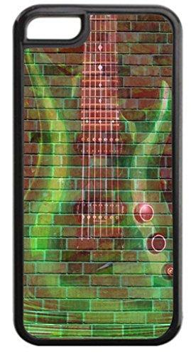 Green Guitar Wall Art- TM Hard Black Plastic Case Compatible with the Apple Iphone 5, 5s (not the 5c) Universal-Made in the USA!
