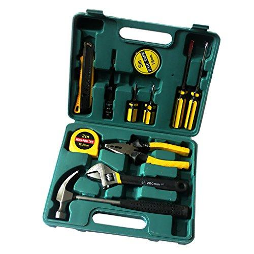 MagiDeal Green Homeowner Tool Set General Household Hand Tools Kit with Plastic Toolbox Storage Case Hammer Wrench Plier Tape Measure Screwdriver Electrical Tape Electric Pen Cutter