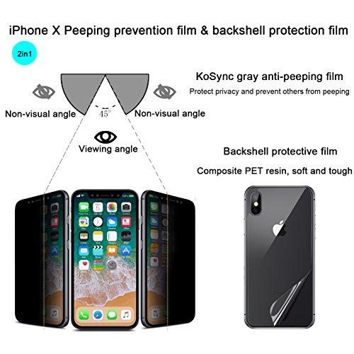 【Back film for free】iPhone X Prevent peeping tempered glass protective film,Privacy protection,Vacuum plating anti-fingerprint oil,Smooth surface,9H Hardness,Ultra-thin 0.3mm,0.1mmHD PET back film