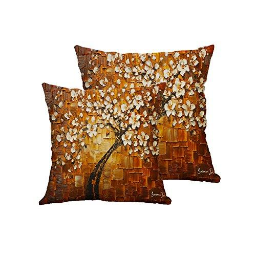 Versub Oil Painting Home Decorative Cotton Linen Throw Pillow Cover Cushion Case Square Pillowslip for Party Wedding Birds Flowers 18 X 18'' (18'' X 18'', Flower6 2PCS)