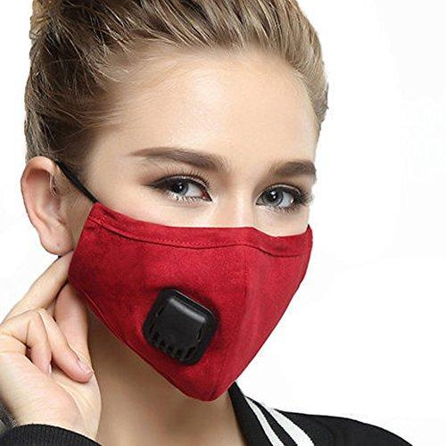ZWZCYZ Unisex Cotton Breath Valve Mouth Mask Anti-Dust Cloth Activated carbon filter respirator Mouth-muffle With 2Pcs Filter (Medium(Women's), Wine Red)
