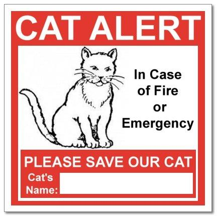 6 Cat Alert Safety Warning Window Door Stickers; In Case of Fire Notify Rescue Personnel to Save Cat