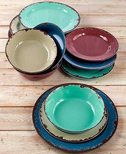 The Lakeside Collection 12-Pc. Rustic Melamine Dinnerware Set