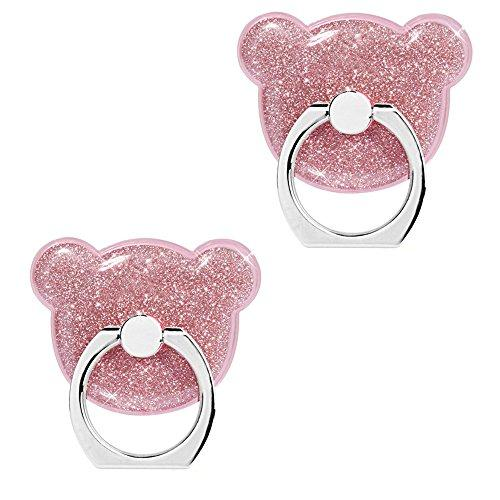 [2 Pack] Phone Ring Holder,FANSONG 360 Rotate Finger Grip Glitter Stand Holder Ring,Car Mount Ring Grip for iPhone 6s plus/7 plus, Samsung Galaxy A5,S7,S8,S8 Plus Smartphone Ring Stent (Pink Bear)