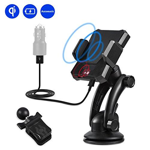 Wireless Car Charger,Automatic Phone Holder With Wireless Charger Qi Car Charge for Samsung Galaxy S8//S7//S7 Edge Note 8 5 /&Standard Charge for iPhone X//8//8 Plus /& Qi Enabled Devices