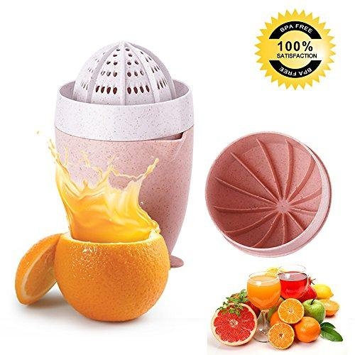 World Power Manual Juicer,BWORPPY Portable Lid Rotation Lemon/Orange Hand Juicer with Strainer and Container (Pink)