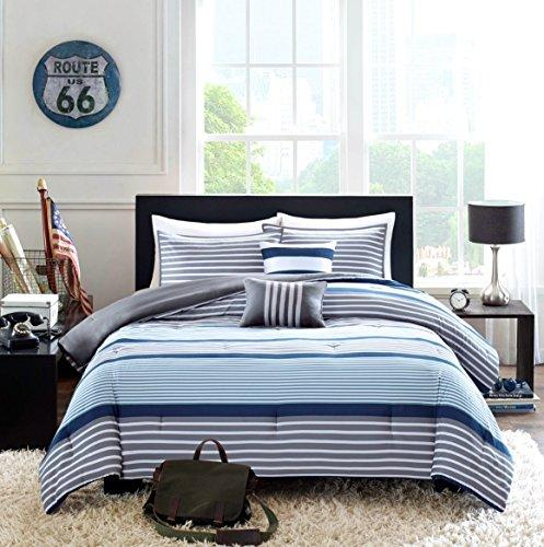 Teen Boys Bedding Rugby Stripe Blue Gray White Green Twin / Twin XL Comforter + 1 Sham +2 Decorative Pillows + Home Style Sleep Mask Navy Boy Kids Comforters Sets (Twin/Twin XL Blue Gray)