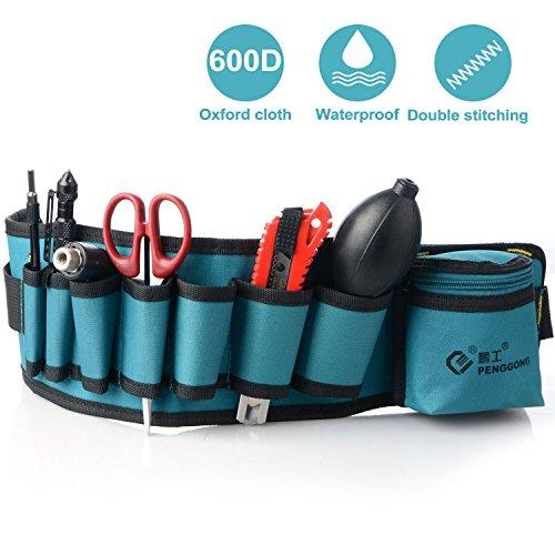 Tool Belt Pouch, Maintenance and Electrician's Pouch with Pockets Multi-functional Tools Holder with Adjustable Belt for Crafts,Technicians, Car Repairman
