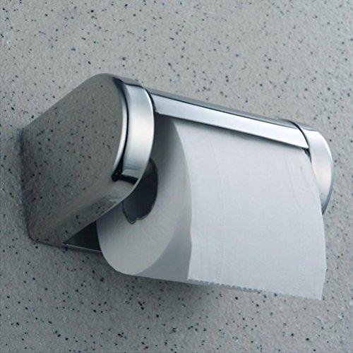 Yeefant 1 Pcs Durable Resist Rust and Color Fading Stainless Steel Bathroom Toilet Wall Mounted Chrome Paper Tissue Box Holder with Screws,0.56x0.41x0.33 Ft