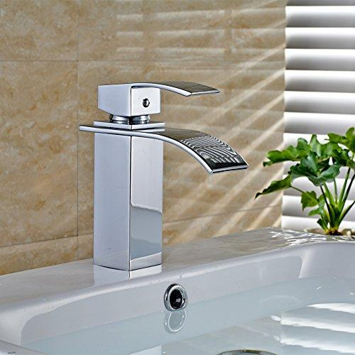 ROVATE Bathroom Sink Faucet, Brass Single Handle Single Hole Waterfall Mixe Faucet/Tap Deck Mounted on Sink, Polished Chrome